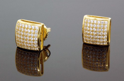 .925 Sterling Silver Yellow Square White Crystal Micro Pave Unisex Mens Stud Earrings