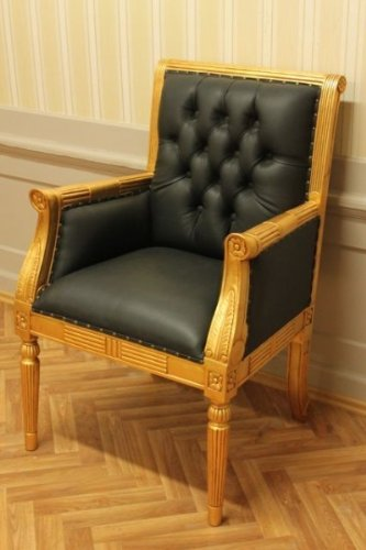 baroque armchair carved bureau chair black leather antique style MjCh10054go