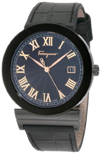 Ferragamo Men's F71LBQ6809 S009 Grande Maison Swiss Quartz Black Dial Genuine Leather Watch