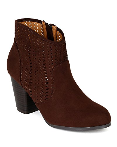 Qupid BI49 Women Suede Perforated Chunky Heel Western Riding Bootie - Brown