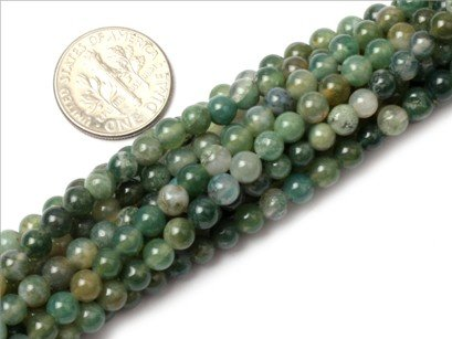 4mm Round Gemstone moss agate beads strand 15