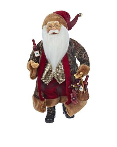 Kurt Adler Burgundy Wine Standing Santa Statue