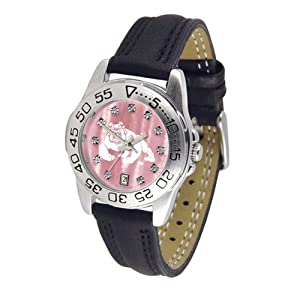 Fresno State Bulldogs NCAA Mother of Pearl Sport Ladies Watch (Leather Band) by SunTime