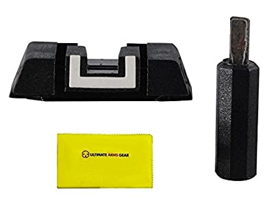 Glock Original SP05977 Adjustable Rear Sight w/ Adjustment Tool Polymer Black Square with White Outline + Ultimate Arms Gear Cleaning Cloth