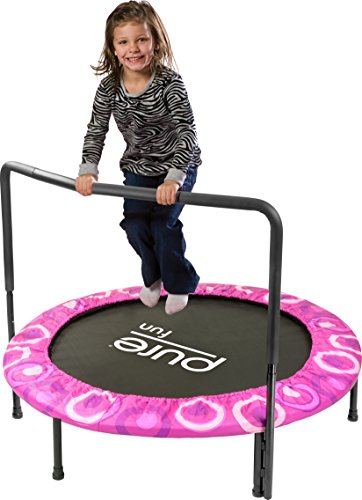 "Pure Fun Super Jumper: 48"" Trampoline with Handrail, Pink, Youth Ages 3+"