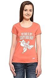 Adro Women's Round Neck Cotton T-Shirt (Peach)