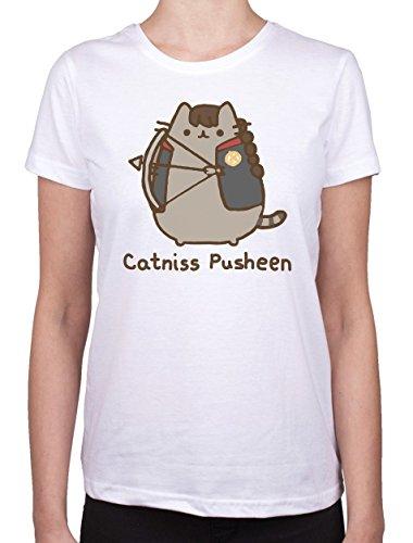 Pusheen Catniss con Maglietta da donna bianco Small