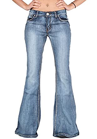 Glamour Outfitters Women's 60s 70s Bell-Bottom Wide Flared Jeans - Blue US6/UK8