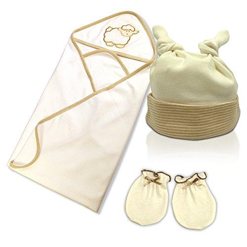 Newborn Baby Gift Set - 100% Organic Cotton - 3 Pc. - Receiving Blanket, Hat & Mittens - 0-3 Months
