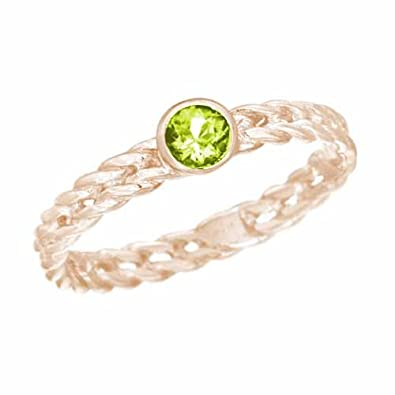 Ryan Jonathan Peridot Stackable Solitaire Twisted Ring in 14K White Gold