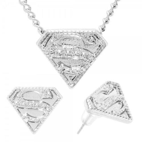 Gazzetta DC Comics Superman Logo Caviar collana e orecchini set