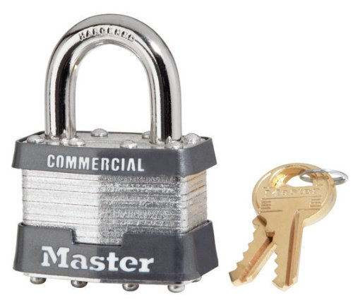 "24 Pack Master Lock 1Ka-2006 1-3/4"" Wide Keyed Alike Commercial Grade Laminated Padlock With 15/16"" Shackle Height - Keyed To 2006 Key Code"
