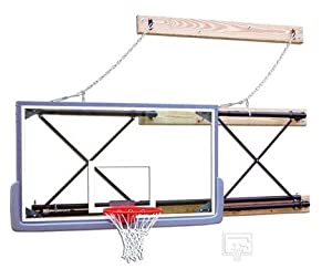 Side-Fold Wall Mount Basketball System with 42 x 72 Glass Backboard and 9-12 Foot... by Gared