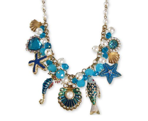 Betsey Johnson Sea Excursion Oyster Charm Frontal Necklace