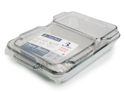 Anchor Hocking Oven Basics 3-Piece Baking Dish Value Pack
