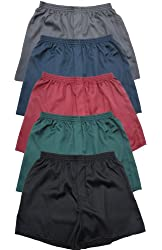 Del Rossa Men's Classic Satin Boxer Shorts (Pack of 5 Solids)