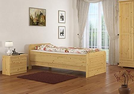 Seniorenbett extra hoch 120x220 Einzelbett mit Rollrost Holzbett Massivholz Kiefer 60.42-12-220