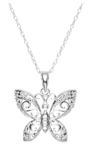 Butterfly Pendant Diamond Accent 14k White Gold