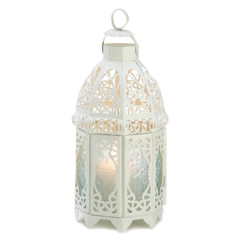 Gifts & Decor Lattice Hanging Candle Holder Lantern Centerpiece, White