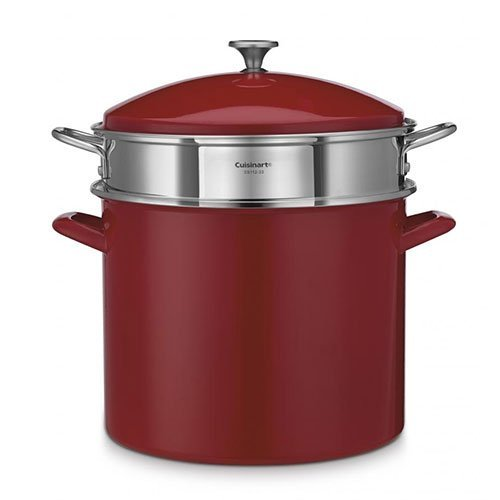 Cuisinart Chef's Classic Enamel on Steel Stockpot with Steamer Basket and Cover, 20 quart