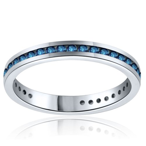 Sterling Silver Simulated Sapphire Band-0.50ct