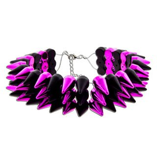 Pink and Black Acrylic Choker Necklace With Three Row of Spikes - 16