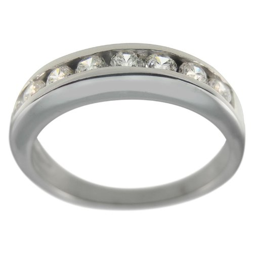 Sterling Silver Ladies Contemporary Diamond Band - 8.5