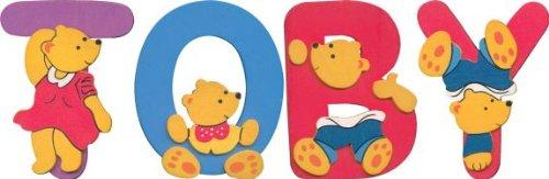 Wooden TOBY teddy bear name set