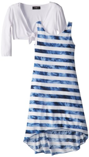 Amy Byer Girls 7-16 Stripe Twofer Dress, Blue, Large