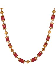 Handicraft Sourcing One Gram Gold Plated On Silver Coral Beads With Gold Covered Tops Chain For Women