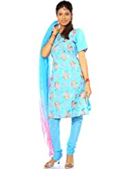 Exotic India Sky-Blue Salwar Kameez With All-Over Floral Embroidery And S - Blue