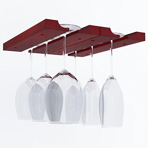 Hanging Under Cabinet Stemware Wine Glass Holder Rack , Adjustable , Mahogany Wood (Hanging Wood Wine Rack compare prices)