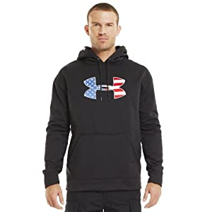 Under Armour Mens Big Flag Logo Tackle Twill Fleece Hoodie by Under Armour