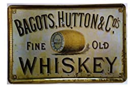 Yours Dec Metal Tin Sign Bagots,hutton Fine Old Whiskey Retro Vintage Tin Sign 8inch