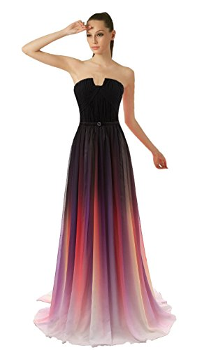 KAY&LAYLA Printed Gradient Gown Chiffon Ombre Gown for Women Formal 2015