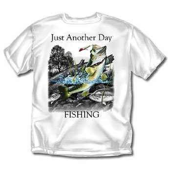 Just Another Day Fishing White Adult T-Shirt