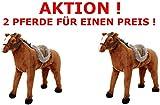 AKTION, 2 Pferde mit Sound, Tragkraft 100 kg, braun, stehend, Mähne, Trense, Sattel, Zaumzeug, stehend XL, Classic, Kinderpferd, Spielzeugpferd, 58201