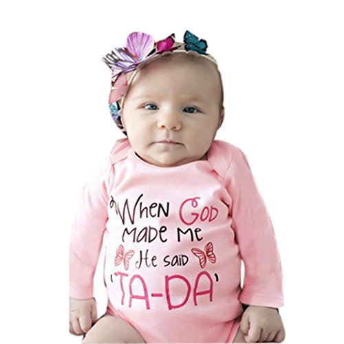 AMA(TM) Newborn Baby Girl Print Romper Jumpsuit Bodysuit Outfits Clothes (6 month, Pink)