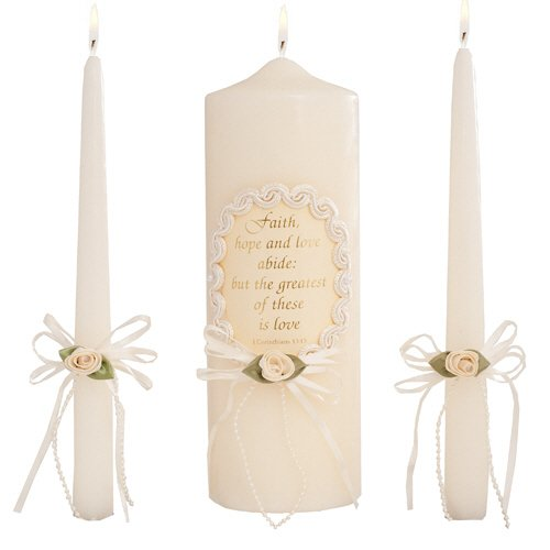 Celebration Candles Wedding Unity Candle Set, 9-inch Pillar Candle with Corinthian Bible Verse, with matching 10-inch Taper Candles, Ivory