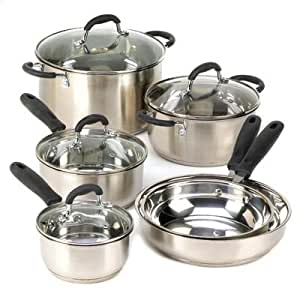 Deluxe 10 piece cookware set cookware sets for Naaptol kitchen set 70 pieces