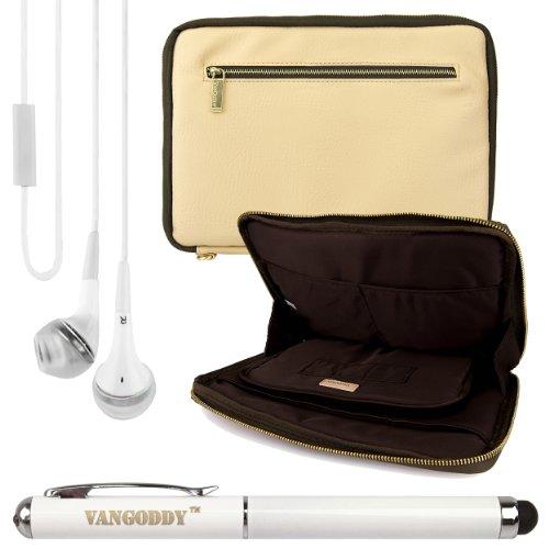 Premium Leather Protecitve Sleeve Bag Case For Dell Venue 7 / Hp Slate 7 / 7Hd / 7 Plus / Mesquite 7-Inch Tablets + Laser Stylus Pen + White Headphones (Tan & Olive Green)