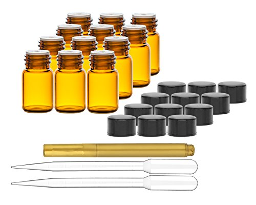 Culinaire 12 Pack Of 2 ml Amber Glass Bottles with Orifice Reducers and Black Caps & (2x) 3 ml Droppers with Gold Glass Pen included (E Juice Bottles Empty compare prices)
