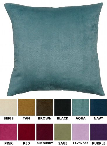 "Dreamhome - Solid Faux Suede Decorative Pillow Cover/Sham, 16"" X 16"" - Aqua front-991117"
