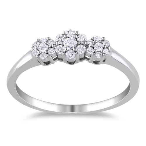 Sterling Silver Diamond Flower Ring, (.25 cttw, H-I Color, I3 Clarity),Size 6