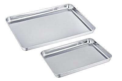 TeamFar Stainless Steel Commercial Baking Sheet Bakeware Cookie Pan Set, Heavy Duty & Healthy, Deep Edge, Set of 2