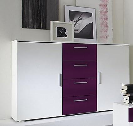 Kommode Sideboard Anrichte Konsole 54019 weiß / lila