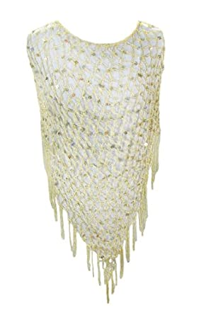 Champagne Sequined Crochet Ladies Poncho