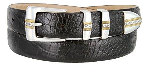 Milan Italian Calfskin Leather Designer Dress and Golf Belts for Men (36, Crocodile Black)