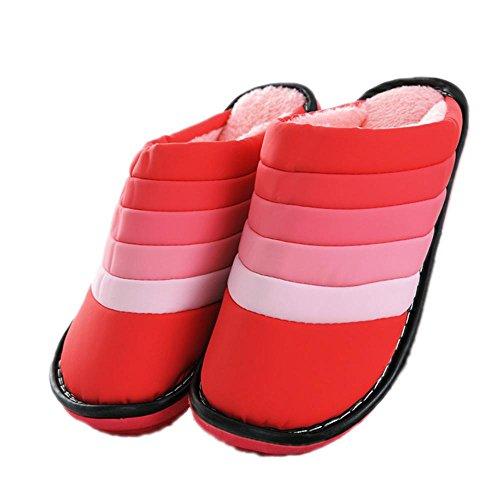 TDXIE Casa PU impermeabile interno antiscivolo per mantenere caldo in pantofole invernali in cotone per uomo e donna scarpe , rose red , 37/38