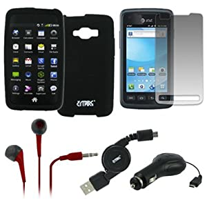 EMPIRE Samsung Rugby Smart I847 Silicone Skin Case Cover (Black) + 3.5mm Stereo Earbud